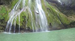 El Limone waterfalls divers Stock Footage
