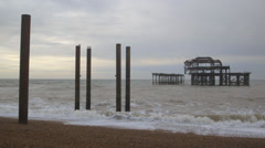 The West Pier, Brighton, UK - dusk Stock Footage