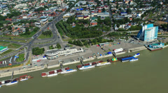 Aerial view. Flight over the Riverport of Barnaul. The Ob River Stock Footage