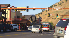 Intersection in Jackson Hole, Wyoming Stock Footage