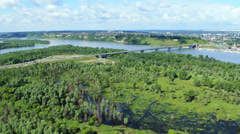 Aerial view. Flight over the river. Bridge over the Ob river Stock Footage
