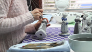 Stock Video Footage of Dutch Porcelain Figurine HandPainted