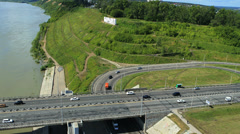 Aerial View. Car traffic on bridge in Barnaul Stock Footage