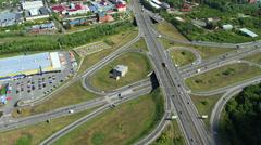 Aerial View. Highway Interchange. Barnaul City Stock Footage