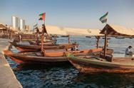 Stock Photo of traditional abra ferries in dubai