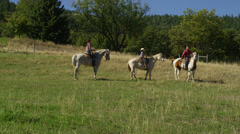 Young Family Riding Horses Stock Footage