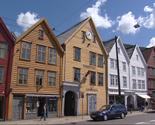 Street view facades old-style wooden warehouses of Bryggen hanseatic town Stock Footage