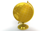 Stock Video Footage of Gold globe spins, stops at North America 4K UHD