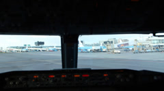 Airplane taxiing on airport Stock Footage
