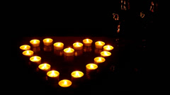 Heart from burning candles Stock Footage