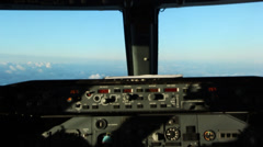 Cockpit of a Boeing 737 during a flight Stock Footage
