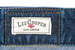 Lee Cooper Sign On Modern Blue Jeans - stock photo