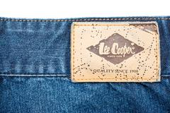 Lee Cooper Sign On Modern Blue Jeans Stock Photos
