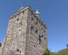 Rosenkrantz tower, fortress at the entrance to the harbor of Bergen, Norway Stock Footage