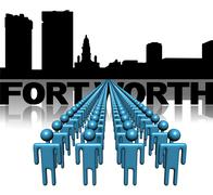 Lines of people with fort worth skyline illustration Stock Illustration