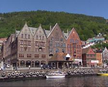 Bergen Havn, historical trade houses + exterior Hanseatic Museum Stock Footage