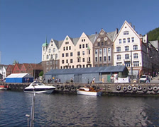 Pan Bergen Havn, historical trade houses + exterior Hanseatic Museum Stock Footage