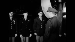 WW2 - US Air Force - Crew Gets Decorations 01 Stock Footage