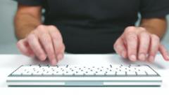 Adult Male Typing fast on a keyboard. Stock Footage
