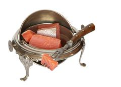 vintage dishware with salmon - stock photo
