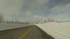 Winter snowbanks drive mountain road POV 4 HD 0283 Stock Footage