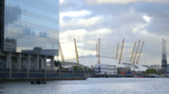 The O2 Arena from Canary Wharf, London Stock Footage