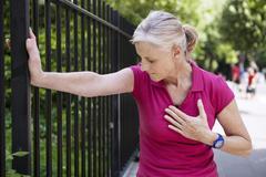 angina pectoris, elderly person - stock photo
