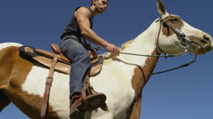 Man Pets Horse's Neck Stock Footage