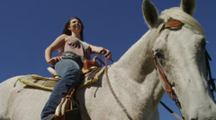 Brunette Girl on Horse, Low Angle Stock Footage