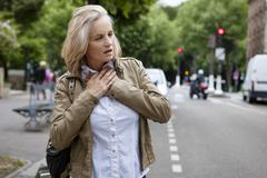asthma, senior - stock photo