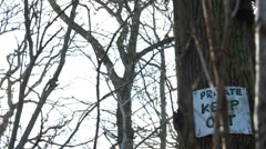 Dolly past trees to Private keep Out sign Stock Footage