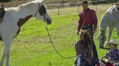 Young Family have Picnic with Horses 2 Stock Footage