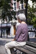 solitude, elderly person - stock photo