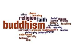 Stock Illustration of buddhism word cloud