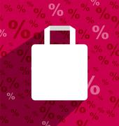 Stock Illustration of sale shopping bag with copy space and long shadow