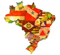 Administration on map of brazil Stock Illustration