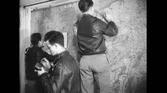 WW2 - US Air Force - Map Planning 03 Stock Footage