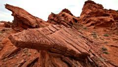 A pan across primal red rock wilderness area near Las Vegas, Nevada Stock Footage