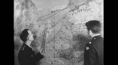 WW2 - US Air Force - Map Planning 04 Stock Footage