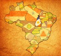 tocantins on map of brazil - stock illustration