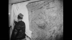 WW2 - US Air Force - Map Planning 05 Stock Footage