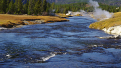 Yellowstone River with Geyser - stock footage