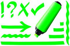 Fluorescent Marker Green Stock Illustration