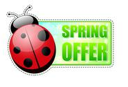 Stock Illustration of spring offer green label with ladybird