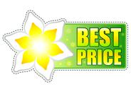 Stock Illustration of best price green label with spring flower