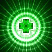 Green shamrock in circles with rays Stock Illustration