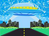 Stock Illustration of ufo spaceship and big night city