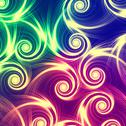Stock Illustration of beige spirals in green, blue and violet background