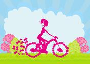 Stock Illustration of cycling poster with silhouette girl