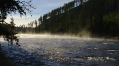 Mist Rising From Yellowstone River - stock footage